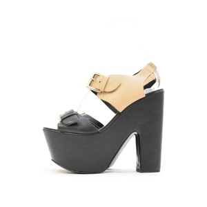 Report Signature Leather Color-blocking Buckle Retro Open Toe Black Wedges