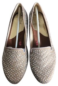 Ros Hommerson Silver Studded Micro Suede Dri-lex Lining Leather Sole Free Shipping Taupe Flats
