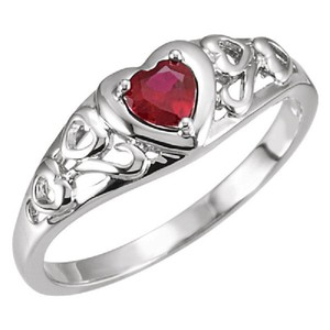 Apples of Gold GARNET HEART SCROLL RING IN 14K WHITE GOLD