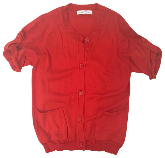 See by Chloé Button Down Red Sweater See by Chloé Button Down Red Sweater Image 1
