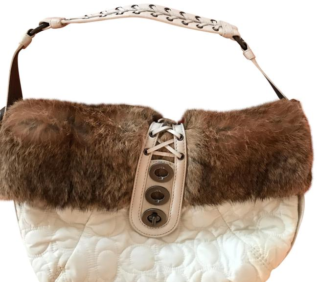 Coach Fur Trimmed White Rabbit and Satin Hobo Bag Coach Fur Trimmed White Rabbit and Satin Hobo Bag Image 1