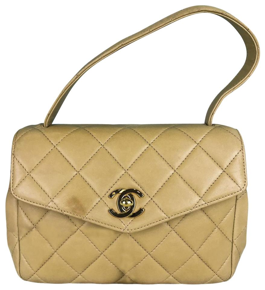 d75e613ebef3 Chanel Flap Bag with Classic Flap Vintage Quilted Top Handle Handbag Beige  Lambskin Leather Satchel