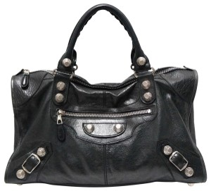 Balenciaga Leather Distressed Leather Satchel in Black