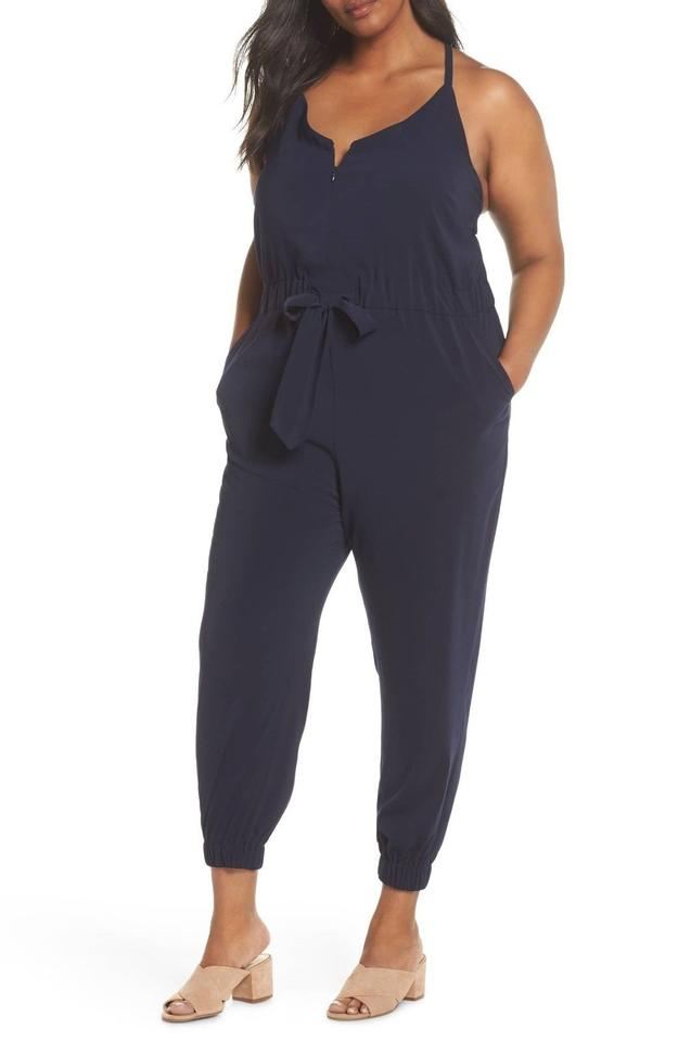 d23a632fd06 Vince Camuto Navy Blue Crepe Satin Romper Jumpsuit - Tradesy
