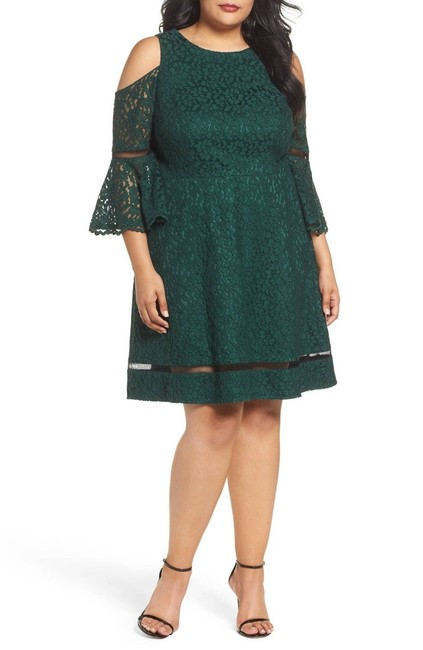 Preload https://img-static.tradesy.com/item/24189044/eliza-j-emerald-green-cold-shoulder-bell-sleeve-lace-short-cocktail-dress-size-18-xl-plus-0x-0-0-650-650.jpg