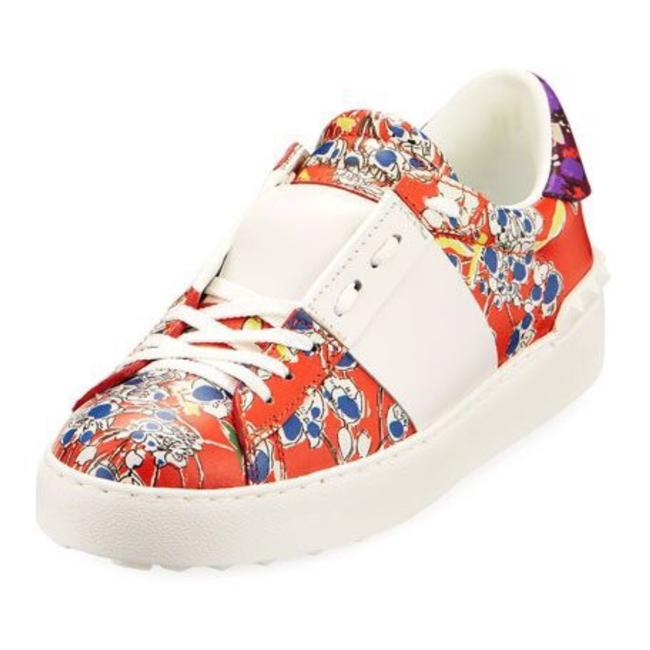 Item - Red Open Mime Floral Leather Platform Sneakers Size EU 37 (Approx. US 7) Regular (M, B)