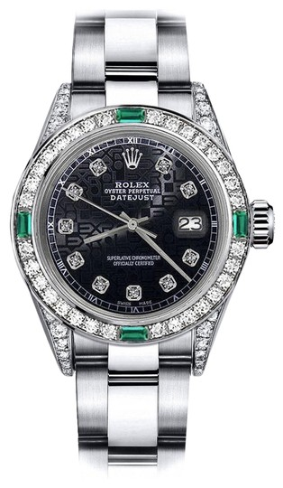 Preload https://img-static.tradesy.com/item/24189155/rolex-stainless-steel-ladies-black-logo-31mm-datejust-diamond-lugs-and-emerald-watch-0-1-540-540.jpg