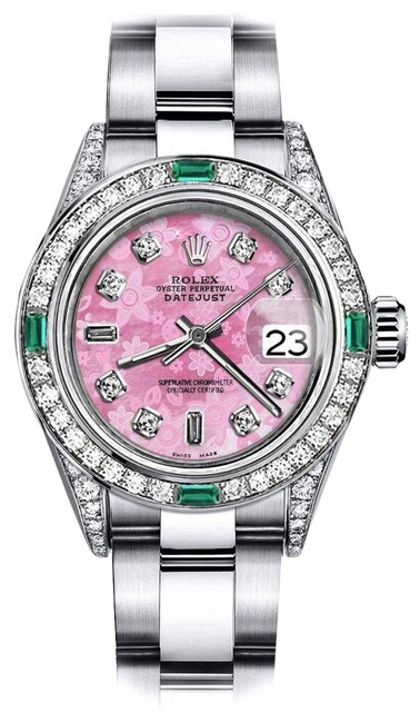 Rolex Stainless Steel Ladies Pink Flower 8+2 31mm Datejust Diamond Lugs & Emerald Watch Rolex Stainless Steel Ladies Pink Flower 8+2 31mm Datejust Diamond Lugs & Emerald Watch Image 1