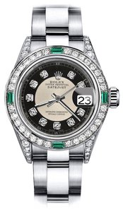 Rolex Ladies Rolex Tuxedo 31mm Datejust Diamond lugs & Emerald