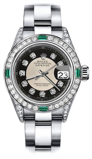 Preload https://img-static.tradesy.com/item/24189214/rolex-stainless-steel-ladies-tuxedo-31mm-datejust-diamond-lugs-and-emerald-watch-0-1-540-540.jpg