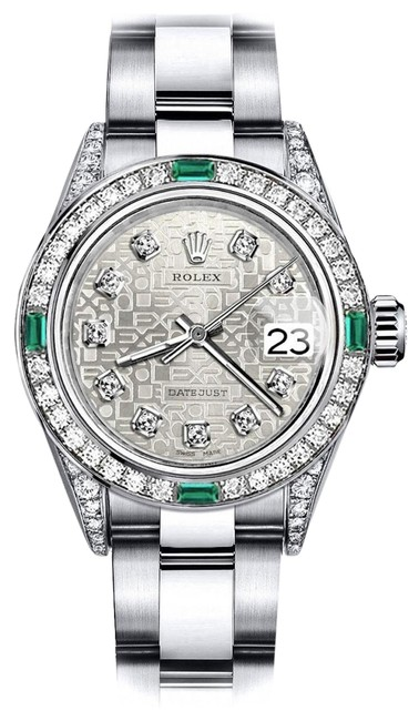 Rolex Stainless Steel Ladies White Logo 31mm Datejust Ss Diamond Lugs & Emerald Watch Rolex Stainless Steel Ladies White Logo 31mm Datejust Ss Diamond Lugs & Emerald Watch Image 1