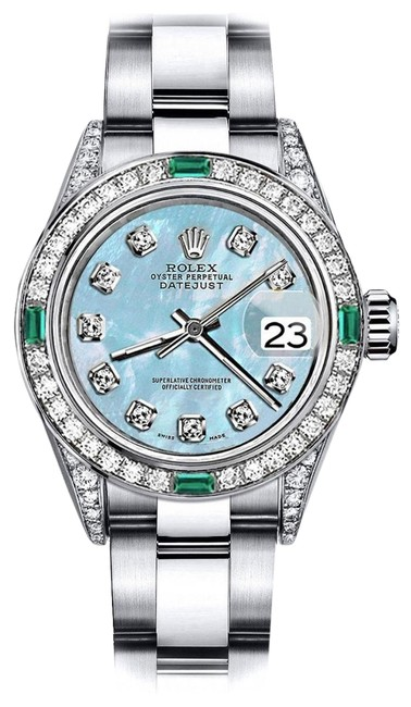 Rolex Stainless Steel Baby Blue Pearl 31mm Datejust Diamond Lugs & Emerald Watch Rolex Stainless Steel Baby Blue Pearl 31mm Datejust Diamond Lugs & Emerald Watch Image 1