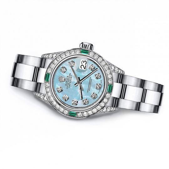 Rolex Rolex Baby Blue Pearl 31mm Datejust Diamond lugs & Emerald
