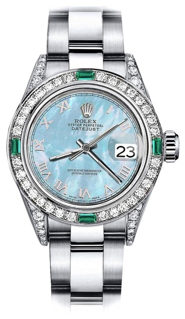 Rolex Stainless Steel Roman Baby Blue Pearl 31mm Datejust Diamond Lugs & Emerald Watch Rolex Stainless Steel Roman Baby Blue Pearl 31mm Datejust Diamond Lugs & Emerald Watch Image 1