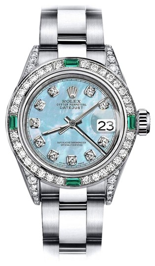 Preload https://img-static.tradesy.com/item/24189244/rolex-stainless-steel-baby-blue-pearl-tr-31mm-datejust-diamond-lugs-and-emerald-watch-0-1-540-540.jpg