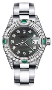 Rolex Rolex Black Pearl 31mm Datejust Diamond lugs & Emerald