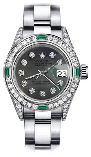 Preload https://img-static.tradesy.com/item/24189258/rolex-stainless-steel-black-pearl-31mm-datejust-diamond-lugs-and-emerald-watch-0-1-540-540.jpg