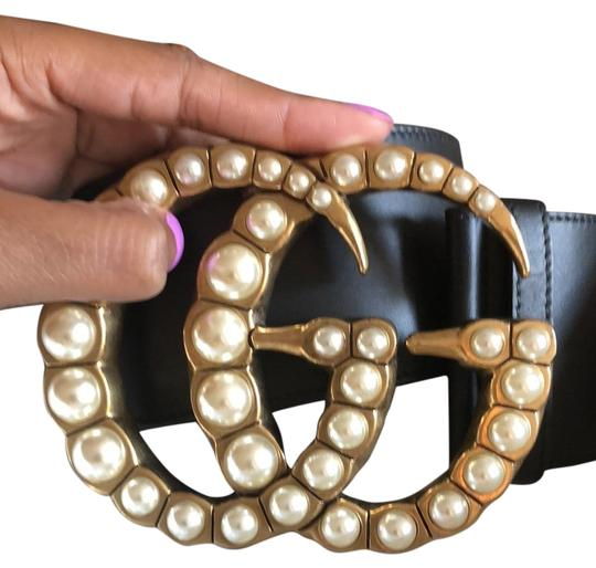 Preload https://item2.tradesy.com/images/gucci-black-gg-pearl-wide-leather-belt-24189266-0-5.jpg?width=440&height=440