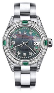Rolex Rolex Black Pearl String 31mm Datejust Diamond lugs & Emerald