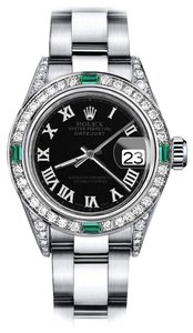 Rolex Rolex Black Roman Track 31mm Datejust SS Diamond lugs & Emerald