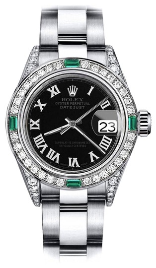 Preload https://img-static.tradesy.com/item/24189282/rolex-stainless-steel-black-roman-track-31mm-datejust-ss-diamond-lugs-and-emerald-watch-0-1-540-540.jpg