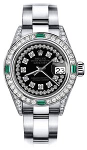 Rolex Rolex Black String SP 31mm Datejust Diamond lugs & Emerald