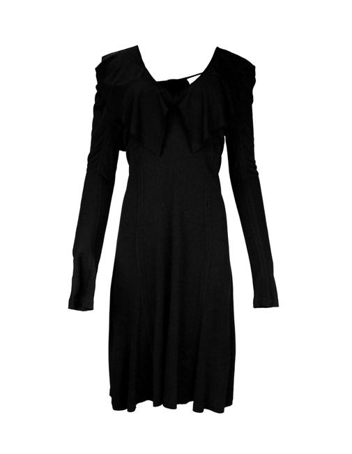 Preload https://img-static.tradesy.com/item/24189360/saint-laurent-black-ysl-little-lbd-jersey-v-neck-w-ruffle-mid-length-workoffice-dress-size-12-l-0-0-650-650.jpg