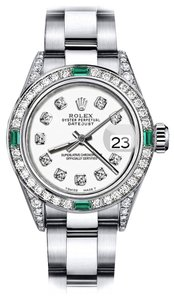 Rolex Rolex Ivory 31mm Datejust Diamond lugs & Emerald