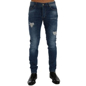Frankie Morello Blue D60489-5 Wash Torn Dundee Slim Fit Jeans Groomsman Gift