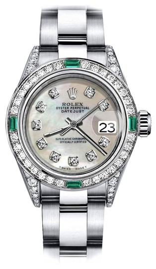 Preload https://img-static.tradesy.com/item/24189471/rolex-stainless-steel-ivory-pearl-31mm-datejust-diamond-lugs-and-emerald-watch-0-1-540-540.jpg