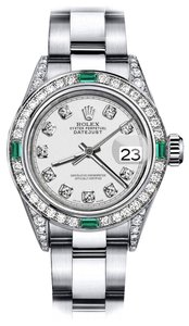 Rolex Rolex Ivory Track 31mm Datejust Diamond lugs & Emerald