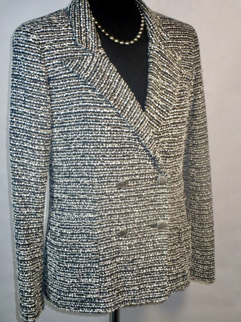 Chanel Navy Taupe Wht Gold Metallic Shimmer Jacket
