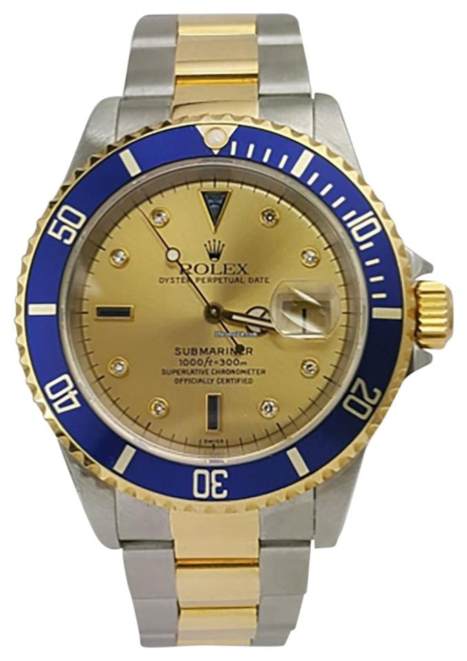 Rolex Blue Submariner/2 Tone /Gold Face/Blue Bezel/16613 Watch
