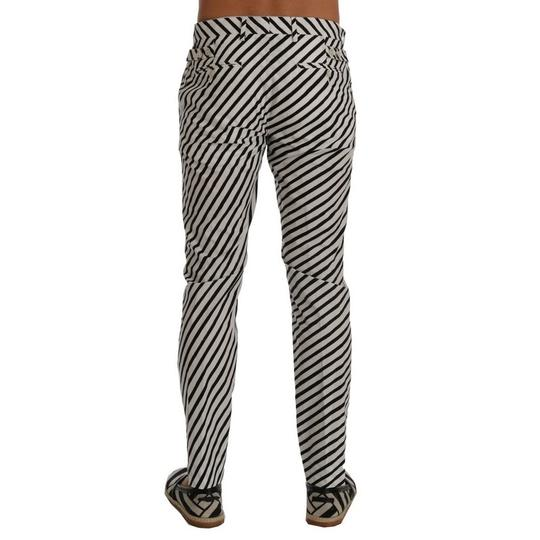 Dolce&Gabbana White / Black D60403-1 Striped Cotton Fit Jeans(It 46 / S) Groomsman Gift