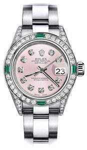 Rolex Rolex Pink 31mm Datejust Diamond lugs & Emerald