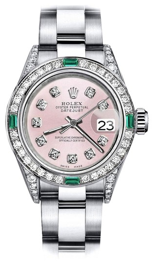 Preload https://img-static.tradesy.com/item/24189543/rolex-stainless-steel-pink-31mm-datejust-diamond-lugs-and-emerald-watch-0-1-540-540.jpg