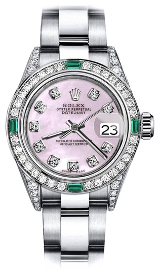 Preload https://img-static.tradesy.com/item/24189557/rolex-stainless-steel-pink-pearl-31mm-datejust-diamond-lugs-and-emerald-watch-0-1-540-540.jpg