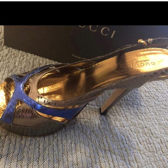 Gucci blue and pewter Platforms