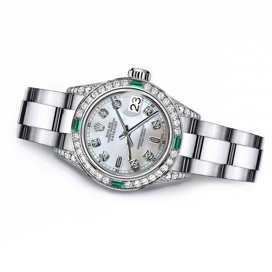 Rolex Rolex White Pearl 8+2 31mm Datejust Diamond lugs & Emerald