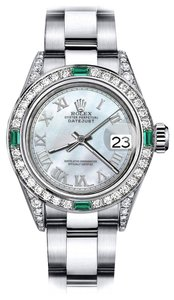 Rolex Rolex White Pearl Roman 31mm Datejust Diamond lugs & Emerald