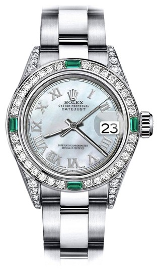Preload https://img-static.tradesy.com/item/24189686/rolex-stainless-steel-white-pearl-roman-31mm-datejust-diamond-lugs-and-emerald-watch-0-1-540-540.jpg