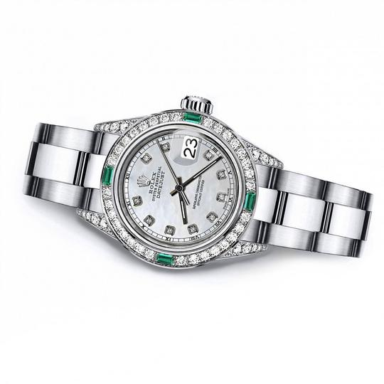 Rolex Rolex White Pearl Track 31mm Datejust Diamond lugs & Emerald