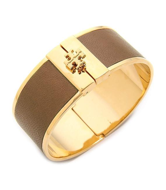 Item - Brown Leather Inlay Cuff with Dust Bag Bracelet