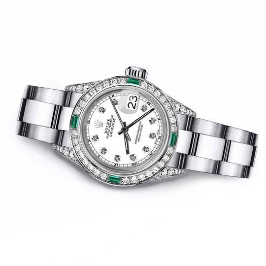 Rolex Rolex White Track 31mm Datejust Diamond lugs & Emerald