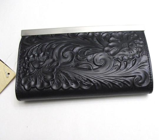 Patricia Nash Designs Patricia Nash Tooled Cauchy Leather Frame Clutch Wallet Black P32907B