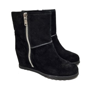 Marc by Marc Jacobs Suede Ankle Wedge Silver Hardware Black Boots