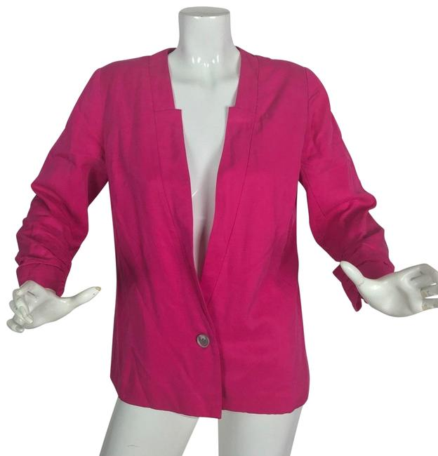 Preload https://img-static.tradesy.com/item/24189765/anthropologie-pink-jacket-notched-drapey-tencel-hot-women-blazer-size-8-m-0-1-650-650.jpg