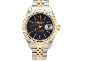 Rolex Rolex Ladies Datejust 2-tone Diamond Bezel 69173 Black Dial