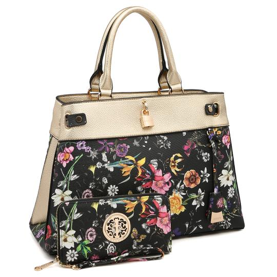 Preload https://img-static.tradesy.com/item/24189780/two-tone-with-padlock-and-matching-wallet-goldblack-flower-faux-leather-satchel-0-0-540-540.jpg