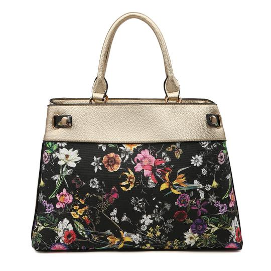 Dasein The Treasured Hippie Vintage Bags Desisigner Inspired Affordable Bags Large Handbags Satchel in Gold/Black Flower